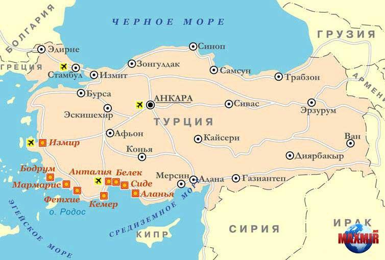 Карты отелей и курортов турции